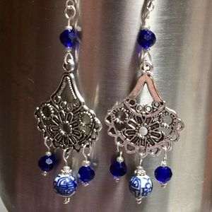 """Lady Blue"" NWOT Artisan Earrings"